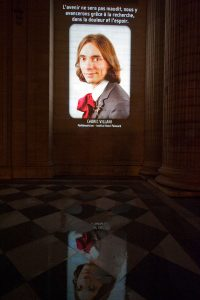 Pantheon video projection. Cédric Villani.