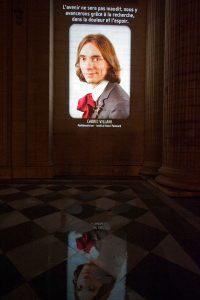 Pantheon video projection. Cédric Villani.